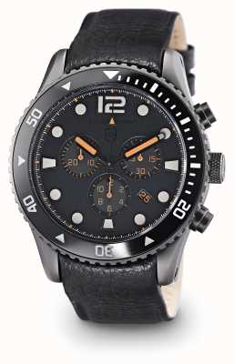 Elliot Brown cuir noir cadran gris de Mens 929-004-L01