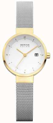 Bering Womens solaire maille d'acier inoxydable cadran blanc 14426-010