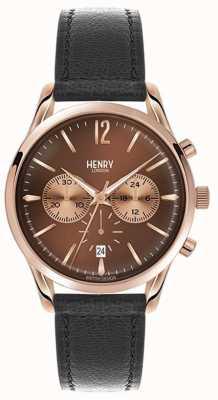 Henry London Herse unisexe bracelet en cuir noir cadran brun HL39-CS-0054