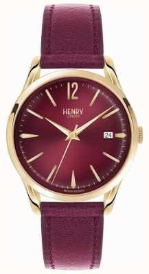 Henry London Unisexe holborn bourgogne cadran bordeaux en cuir HL39-S-0066