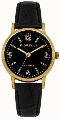 Fiorelli Womens bracelet en cuir noir cadran noir FO015BG