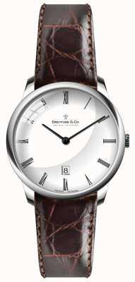 Dreyfuss Mens bracelet en cuir brun cadran blanc DGS00135/01