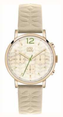 Orla Kiely Chronographe bracelet nue cas pvd or OK2000