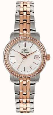 Rotary Femmes | bracelet en acier inoxydable / pvd bicolore | cadran argenté | LB90092/41