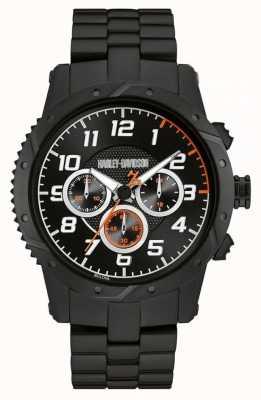 Harley Davidson Mens bracelet noir boîtier noir chronographe 78B138