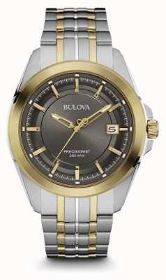 Bulova Mens deux tons bracelet cadran gris 98B273