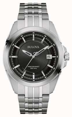 Bulova Mens argent en acier inoxydable bracelet cadran noir 96B252
