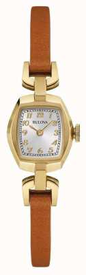 Bulova Womens cuir brun cadran bracelet rectangle 97L153