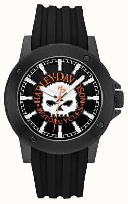 Harley Davidson Bracelet en silicone noir pour homme | cadran noir 78A115