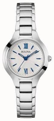Bulova Womens bracelet en argent cadran blanc 96L215