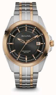 Bulova Mens | bracelet en acier inoxydable | cadran noir | 98B268