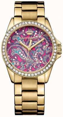 Juicy Couture Womens bracelet en métal doré cadran avec motif rose 1901424