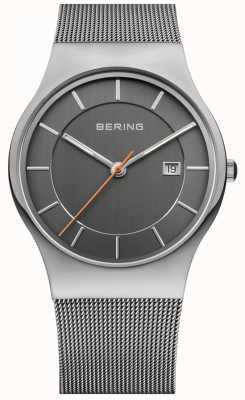 Bering Mens | bracelet en acier inoxydable | cadran gris | 11938-007