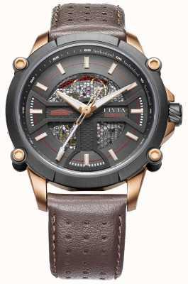 FIYTA Mens bracelet en cuir brun cadran noir WGA866001.MBR