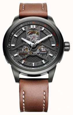 FIYTA Mens bracelet en cuir brun boîtier noir WGA1008.BBR