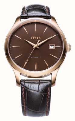 FIYTA Mens bracelet en cuir brun boîtier en or rose WGA1010.PSR