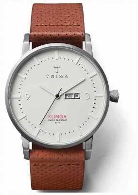 Triwa Unisexe Klinga bracelet en cuir brun cadran blanc KLST101-CD010212