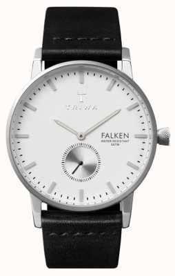 Triwa Mens falken bracelet en cuir noir cadran blanc FAST103-CL010112