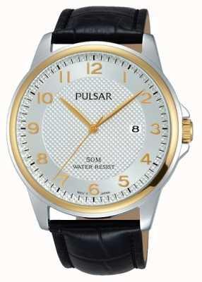 Pulsar Mens bracelet en cuir noir cadran blanc PS9444X1