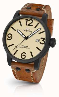 TW Steel Mens cadran crème de bracelet en cuir brun MS41