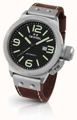 TW Steel Canapé pour hommes bracelet en cuir marron cadran noir CS26