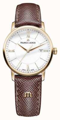 Maurice Lacroix Eliros womens cadran blanc bracelet brun en cuir EL1094-PVP01-111-1