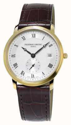 Frederique Constant Slimline mens plaqué or ultra mince bracelet en cuir FC-245M4S5