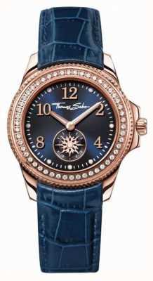 Thomas Sabo Womans bracelet en cuir bleu cadran bleu WA0216-270-209-33