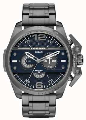 Diesel Bracelet acier noir plaqué noir cadran bleu foncé DZ4398