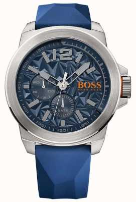 Hugo Boss Orange Mens cadran bleu bracelet en caoutchouc bleu 1513348