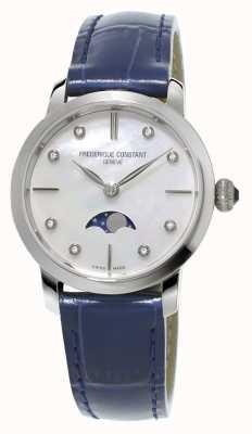 Frederique Constant Femmes slimline moonphase diamant mis bracelet en cuir bleu FC-206MPWD1S6