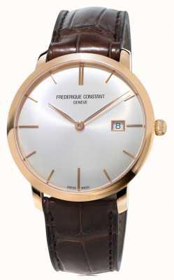 Frederique Constant Mens slimline bracelet en cuir brun automatique FC-306V4S4