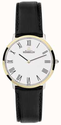 Michel Herbelin de Mens bracelet en cuir noir cadran blanc 17415/T01