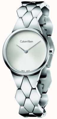 Calvin Klein serpent Womens cadran bracelet en argent en acier inoxydable K6E23146