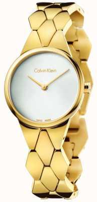 Calvin Klein Womens pvd serpent d'or cadran bracelet en argent K6E23546