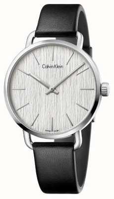 Calvin Klein Womens même cuir noir cadran bracelet en argent K7B211C6