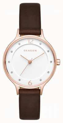 Skagen Womens anita cadran blanc brun bracelet en cuir SKW2472
