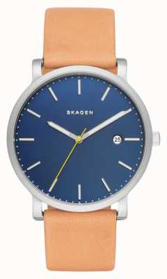 Skagen Mens hagen tan bracelet en cuir cadran bleu SKW6279