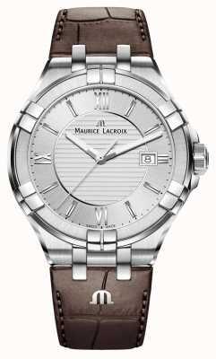 Maurice Lacroix Mens Aikon cuir brun cadran bracelet en argent AI1008-SS001-130-1