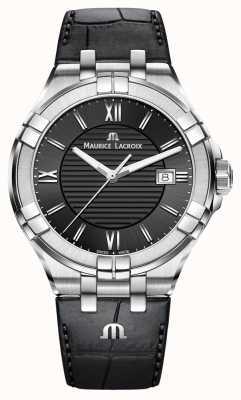 Maurice Lacroix Mens Aikon bracelet en cuir noir cadran noir AI1008-SS001-330-1