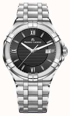 Maurice Lacroix Mens Aikon bracelet en acier inoxydable cadran noir AI1008-SS002-330-1