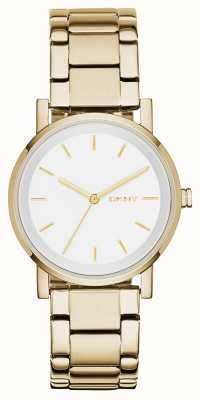 DKNY Womans rond cadran blanc bracelet en or NY2343