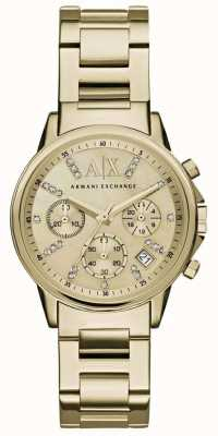 Armani Exchange Womans cadran de chronographe en or bracelet en métal doré AX4327