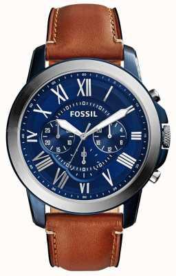 Fossil Mens chronographe cadran bleu bracelet en cuir brun FS5151