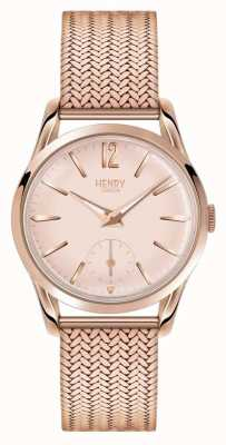 Henry London Womans rose cadran en or rose plaqué or bracelet en maille HL30-UM-0164