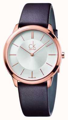 Calvin Klein Mens minimal bracelet en cuir brun K3M216G6