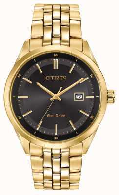 Citizen Mens pvd or bracelet plaqué cadran noir BM7252-51E