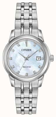 Citizen Womens 11 diamants Bracelet en acier inoxydable de nacre EW2390-50D