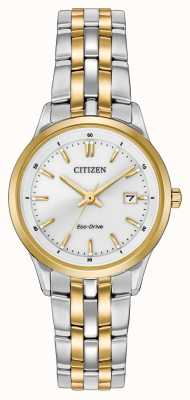 Citizen Womens deux tons bracelet en acier inoxydable cadran blanc EW2404-57A