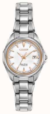 Citizen Womens titane bracelet cadran blanc EW2410-54A